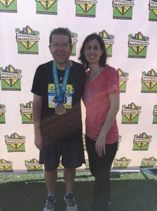 Completing my 3rd Marathon, in December, 2014. Jacksonville, Florida; a year an