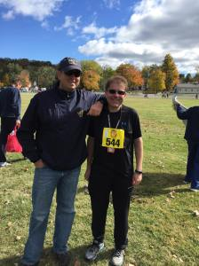"""I'm happy to have my clients lean on me, but having the County Executive stop by and """"lean on me"""" when the race was over was a treat.  I'm lucky to work with this guy.  Truth be told when the run was done I was shaking and cold and the guy actually helped get these pants pulled on over my shorts because I could barely move."""